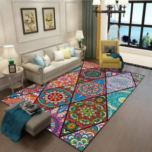 Vintage ethnic style carpet living room bedroom carpet Bohemian art study floor mat can be machine washed