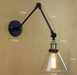 Vintage glass wall sconces,double arm adjustble led wall light lighting indoor for dining living room bedroom light fixture