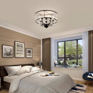Vintage Iron Black Ceiling Light led crystal Shade Modern chandeliers ceiling Nordic Lighting Home Living Room Decor lamp