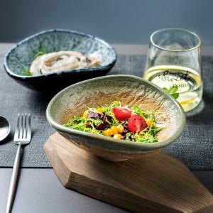 "Vintage Irregular 6.6"" Pottery Salad Bowls Handcrafted Glaze Ramen Bowl Set of 2 Yellow/Blue/Green"