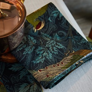 Vintage Luxury Style Square Jungle Cloth Dinner Napkins Cotton Decoration Cover in Blackish-Green Set of 4