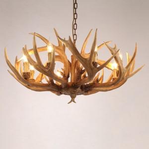 Vintage Resin Deer Horn Antler 6-Light Large Rustic Candelabra Ceiling Chandelier