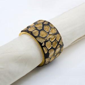 Vintage Round Wood Napkin Rings Handmade Gold & Black Napkin Ring Holder for Dining Room Set of 6