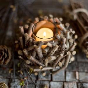 Vintage Rustic Style Solid Wood Decorative Candleholder Multi Twigs Bird Nest Shape Glass Tealight Holder Set of 3