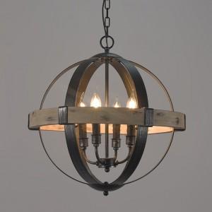 Vintage Style Rustic Artcraft Wooden 4-Light Globe Shaped Wrought Iron Chandelier in Black