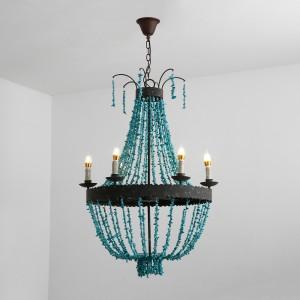 Vintage Style Turquoise Bead Strands & Rust Metal Frame 5-Light Large Chandelier