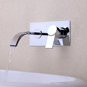 Virt Contemporary Single Handle Wall Mount Bathroom Sink Faucet Polished Chrome