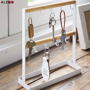 Vogue Nordic Chic Metal Wood Small Item Storage Rack Modern Minimalist Elegance White Jewery Key Holders Storage Racks for Home
