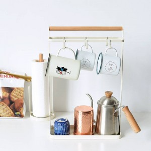Vogue Nordic Metal Wood Storage Shelf with Grid Bottom Tray Key Cup Condiment bottles Holders Storage Organizer for Home