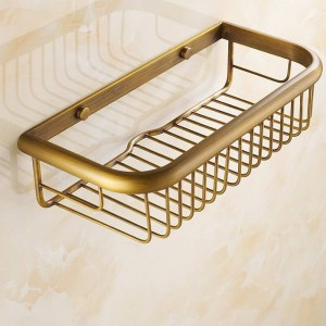 Wall Mounted Antique Brass Finish Bathroom Accessories Bathroom Shelves 30cm Basket 30cm