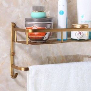 Wall Mounted Antique Finish NEW Aluminum Vintage Bathroom Shower Shampoo Shelf Basket Holder Fashion Double Layer 9100K