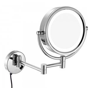 Wall Mounted Lighted LED Swivel Makeup Mirror with 10X/7X/5X Magnification, Double sided-Magnifying/Regular mirrors, Plug in