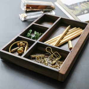 Walnut Partition Wood Storage Tray Nordic Modern Scandinavia Tool Food Jewelry Sundries Desktop Storage Box Home Organizer