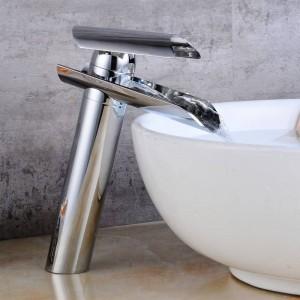 Waterfall Basin Faucet Brass / Glass Spout Bathroom Faucets Hot Cold Mixer Tap Waterfall Faucets Chrome Crane 9129S
