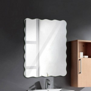 Wavy frameless bathroom mirror wall hanging bathroom waterproof mirror bedroom living room porch makeup mirror wx8231141