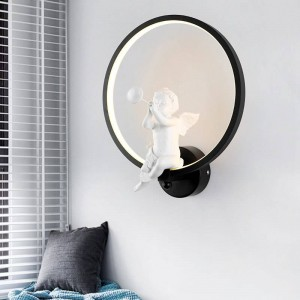white/Black Acrylic Creative Modern Led Wall Light Angel child bedroom bedside LED Sconce Bathroom Wall Lamp Lustres