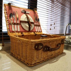 Wicker Basket Wicker Camping Picnic Basket Outdoor Willow Picnic Baskets Handmade Picnic Basket Set for 4 Persons Picnic Party