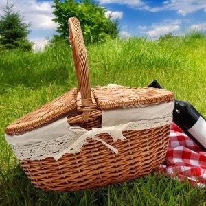 Wicker Willow Picnic Basket Hamper as Shopping Bag with Lid and Handle and White Liner for Outdoor Camping Picnic Carrying Food