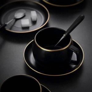 Black Ceramic Clffee Cup Simple Tea Cups Saucers Sets With Spoon European Style Teacup Porcelain Fashion Gift