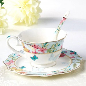 Ceramic Coffee Cup Set Bone Drinkware Porcelain Tea Cups And Saucers Afternoon Tea Set Christmas Gift