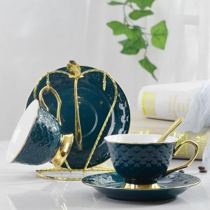 Ceramic Coffee Cups Set Small European Luxury Creative Gift For Lovers Golden Silver Design Porcelain Tea Cup Set