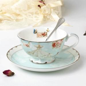 Ceramic Tea Cup And Saucer Set Designer Bone Coffee Cup Porcelain Afternoon Black Tea Cup Set Coffeeware Set