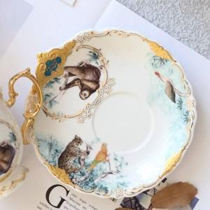 Jungle Animal Gold Bone Tea Cup Saucer British Style Ceramic Coffee Cups Sets Fashion Porcelain Teacup