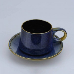 Superior Ceramic Tea Cup Set Porcelain Coffee Cups And Saucers Deep Blue Luxury Afternoon Teacups Drinkware Advanced Gift