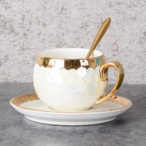Turkish Coffee Cups Ceramic With Stainless Spoon Gold Inlay Porcelain Coffee Cups Saucers Sets Afternoon Tea Teacup