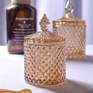 Yellow rhombic crystal glass jar coffee cube Sugar bowl cylinder cotton swab box flower tea pot home jewelry storage can naments