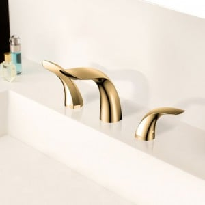 Zime Modern Aerated Spout Widespread Sink Faucet Double Handles in Gold Solid Brass