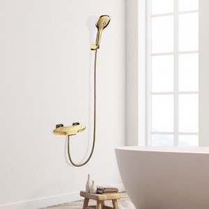 Zime Modern Luxury Wall Mount Waterfall Bathtub Filler Faucet Thermostatic Valve with 2-Function Hand Shower in Gold Solid Brass