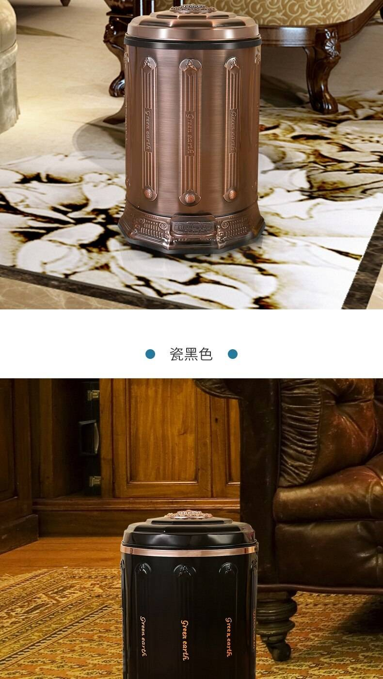 luxury 6l stainless steel antique trash can household