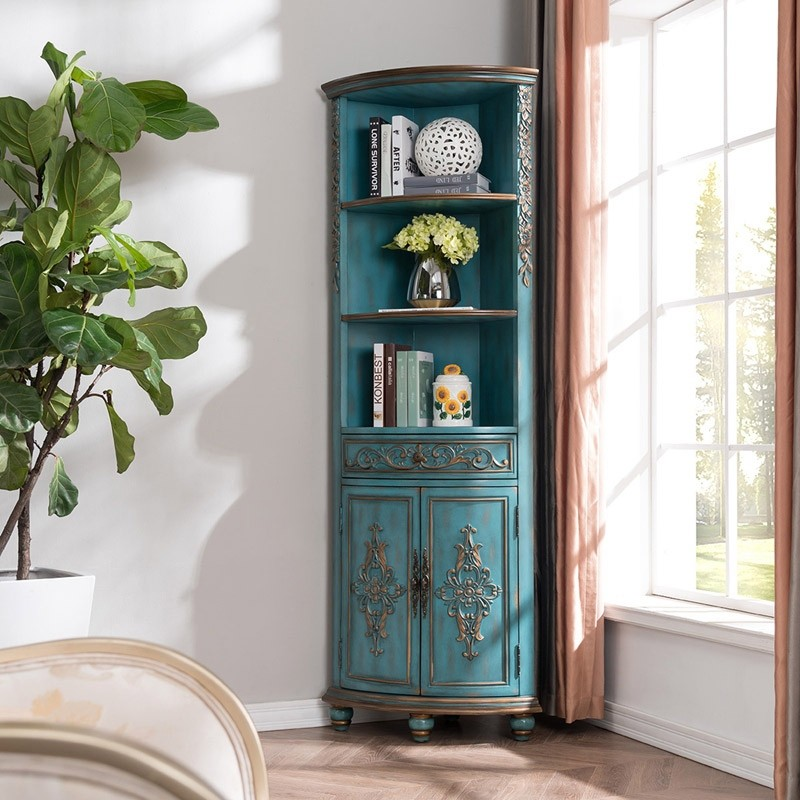 Luxury Adame Vintage Rustic Tall Corner Cabinet Curio ...