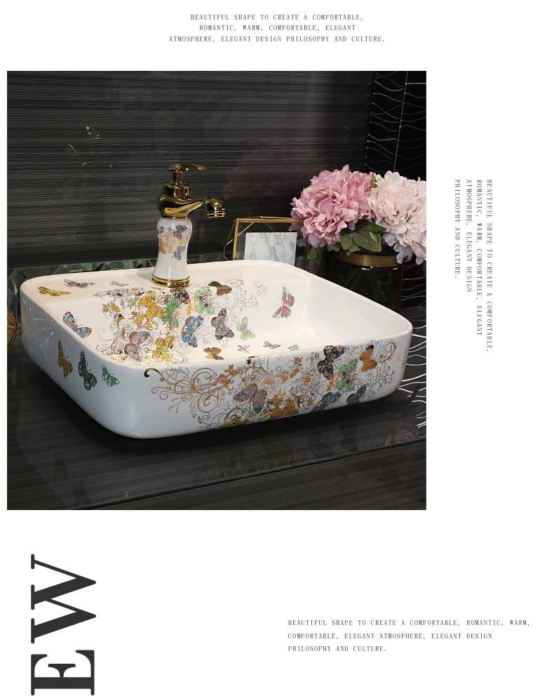 Luxury Ceramic Art Basin Sinks Counter Top Wash Basin