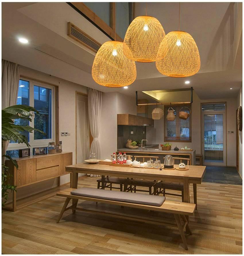 lights lighting dining kitchen fixtures indoor lamp lamps bamboo pendant rattan wood led luminaire luxury
