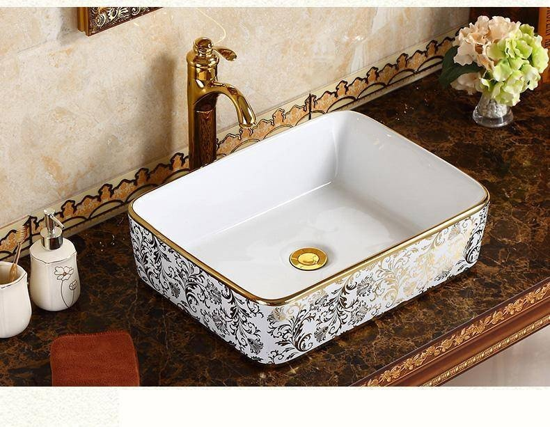 Luxury Europe Style Rectangular Sink, Patterned Bathroom Sinks