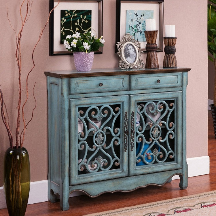 Luxury Farmhouse Distressed Blue 2 / 3 Door Accent Cabinet ...
