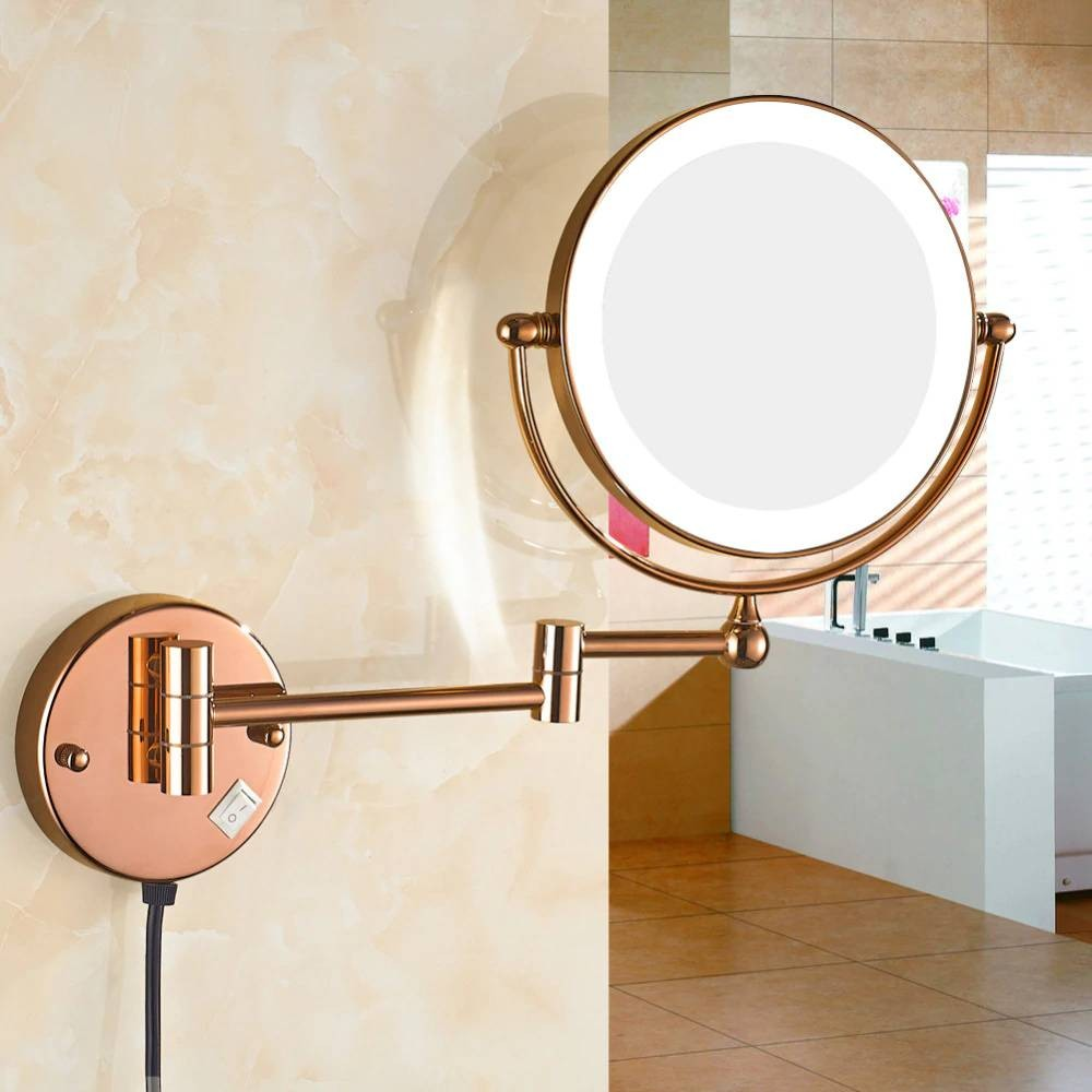 Luxury Lighted Magnification Wall Mount Bathroom Makeup ...