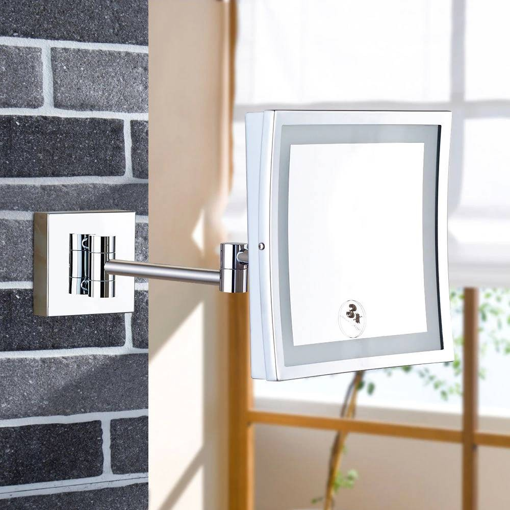 Luxury Wall Mounted Magnifying Bathroom Led Lighted Illuminated Makeup Mirror Framed Square Extendable Shaving Mirrors Chrome Wall Mounted Magnifying Bathroom Led Lighted Illuminated Makeup Mirror Framed Square Extendable Shaving Mirrors Chrome For