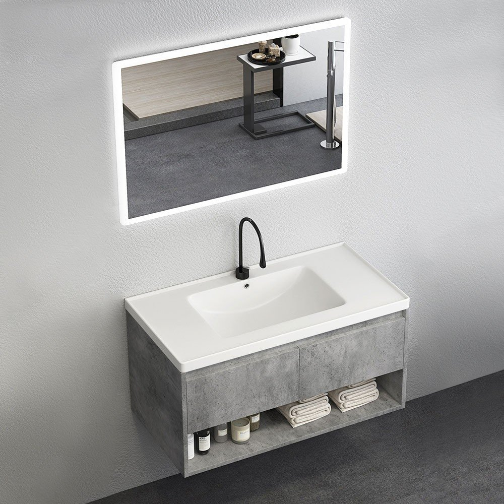 Luxury Modern 24 36 40 Gray Floating Bathroom Vanity Wall Mount Ceramics Single Sink Vanity With Drawers Shelf Modern 24 36 40 Gray Floating Bathroom Vanity Wall Mount Ceramics Single Sink Vanity With Drawers