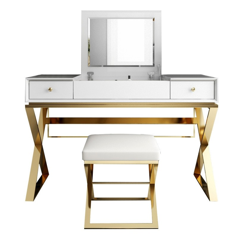 Luxury Modern 2-Drawer Wood Makeup Vanity Set with Mirror & Stool X Base Stainless Steel in Gold ...