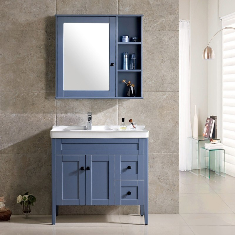 Luxury Modern 36 Blue White Single Bathroom Vanity With Ceramic Vanity Top Medicine Cabinet Modern 36 Blue White Single Bathroom Vanity With Ceramic Vanity Top Medicine Cabinet For Sale