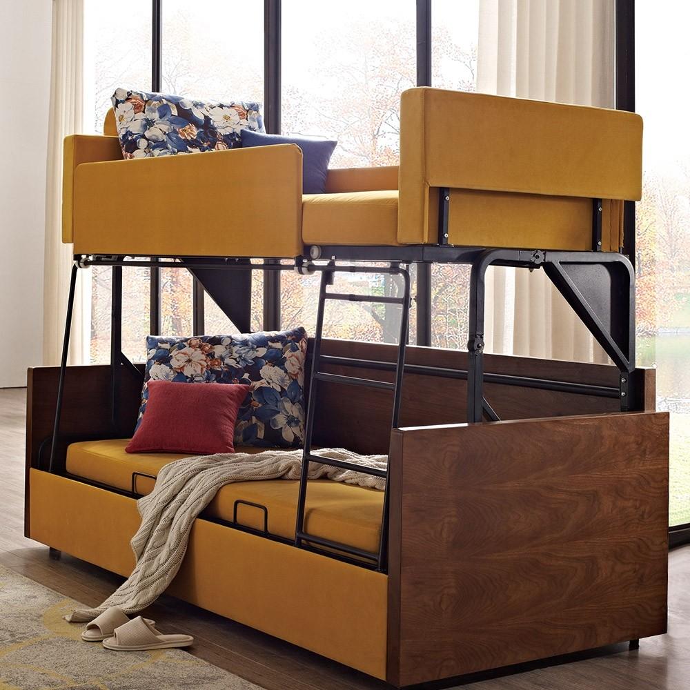 Mid Century Modern Bed Furniture: Luxury Modern Folding Wood Bunk Bed Sleeper Sofa Yellow