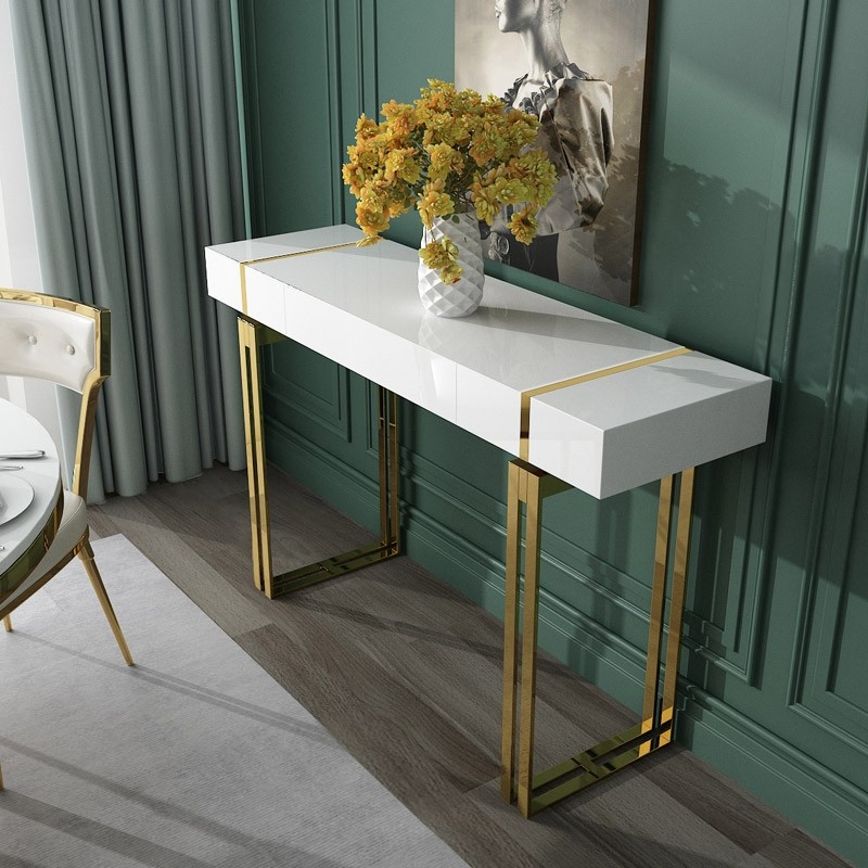 Luxury Modern White Black Console Table With Drawer Storage Rectangular Entryway Stainless Steel In Gold - Modern White Console Table With Storage