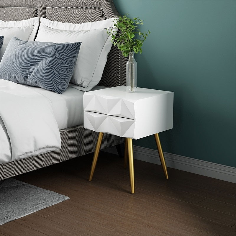 Luxury Modern Mid Century Style White And Gold Nightstand