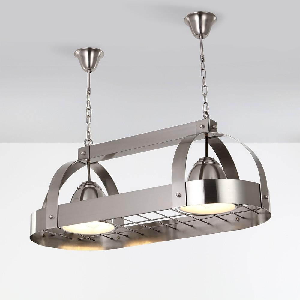 Luxury Modern Oval 2-Light Kitchen Island Light Brushed ...