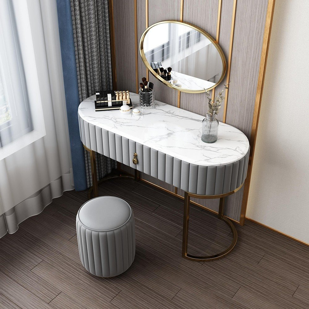 Luxury Modern Stylish Faux Marble Tabletop Makeup Vanity Set with Drawers Mirror & Leather Stool ...