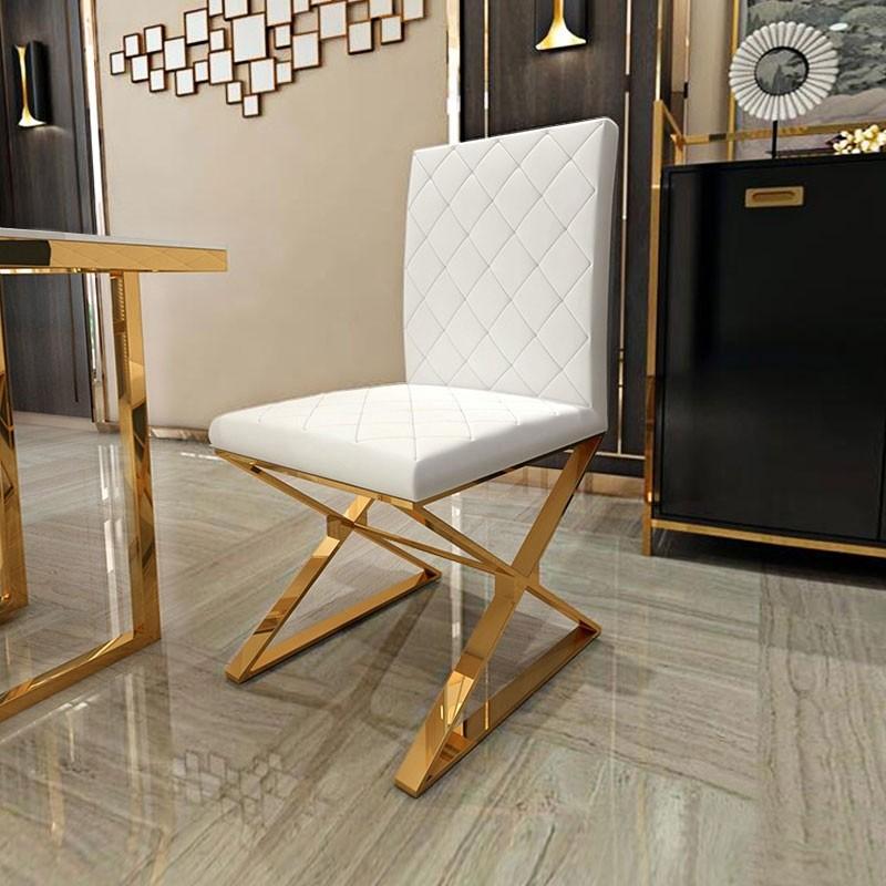 Luxury Modern Upholstered White / Black PU Leather Dining ...