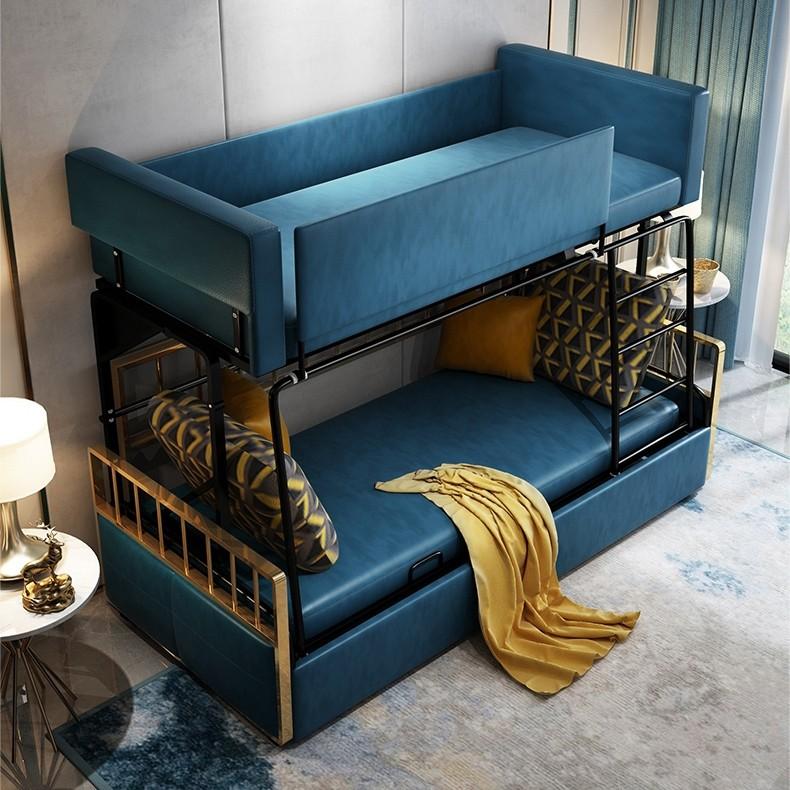 Mid Century Modern Bed Furniture: Luxury Modern Wood Bunk Bed Sleeper Sofa Blue Upholstered